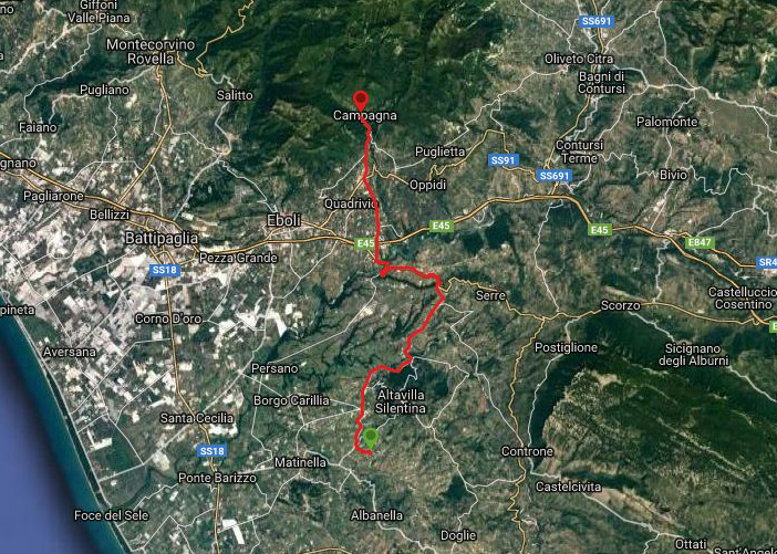 Questa è la strada percorsa da Nicola e Fela tra Altavilla Silentina-Campagna