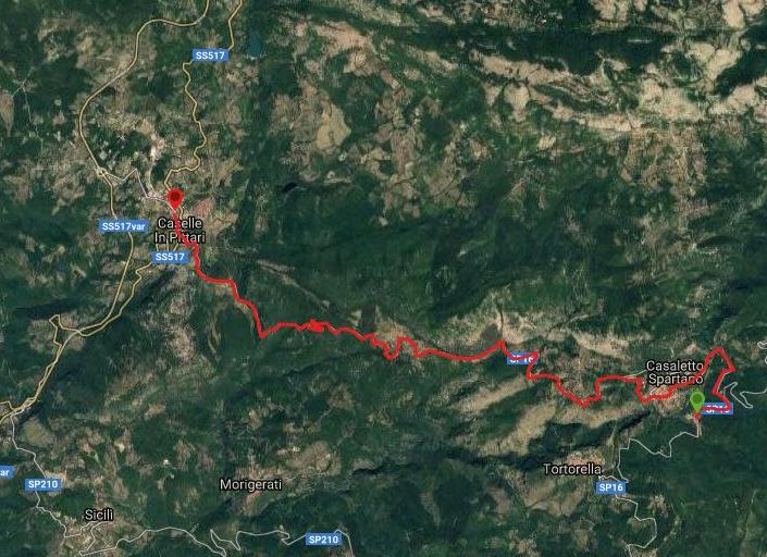 Questa è la strada percorsa da Nicola e Fela tra Battaglia-Caselle in Pittari