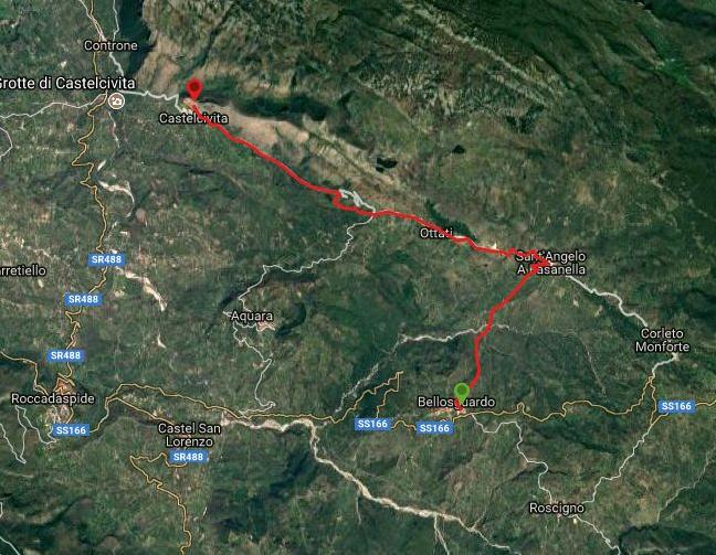 Questa è la strada percorsa da Nicola e Fela tra Bellosguardo-Santangelo-Ottati-Castelcivita