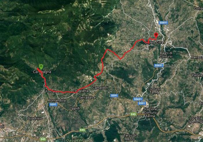 Questa è la strada percorsa da Nicola e Fela tra Campagna-Oliveto Citra