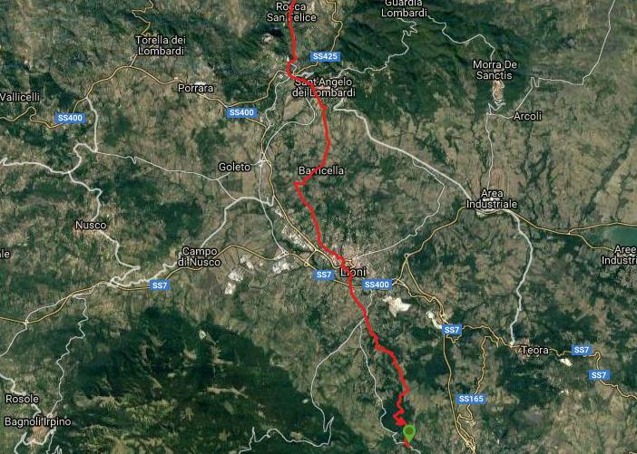 Questa è la strada percorsa da Nicola e Fela tra Caposele-Lioni-Rocca san Felice
