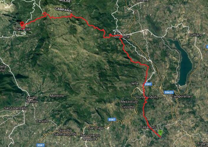 Questa è la strada percorsa da Nicola e Fela tra Casalduni-Pietraroja