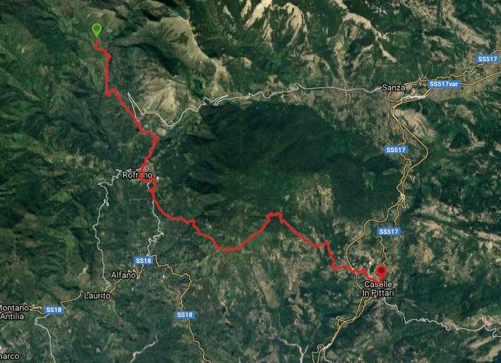 Questa è la strada percorsa da Nicola e Fela tra Caselle in Pittari-Rofrano-Tempa del Fico