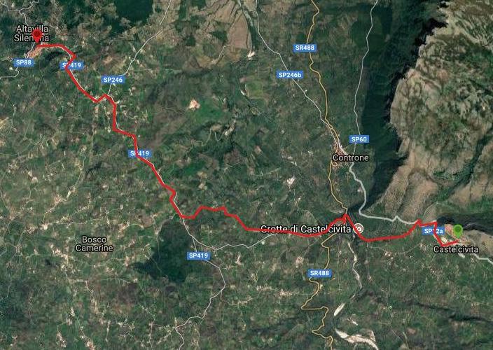 Questa è la strada percorsa da Nicola e Fela tra Castelcivita-Altavilla Silentina
