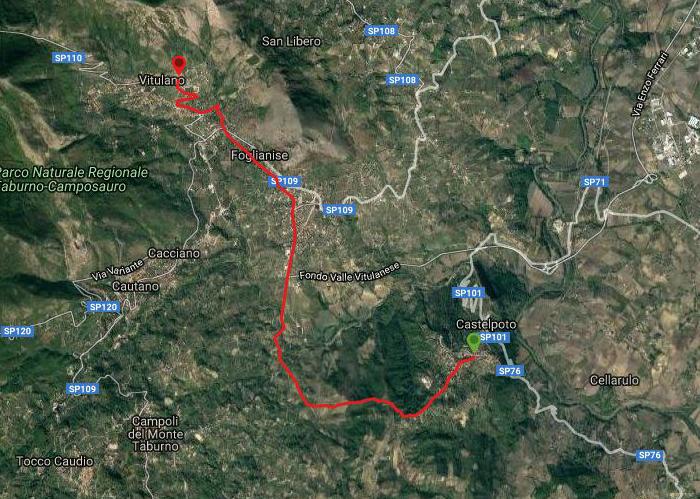 Questa è la strada percorsa da Nicola e Fela tra Castelpoto-Vitulano