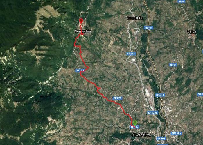 Questa è la strada percorsa da Nicola e Fela tra Oliveto Citra-Senerchia