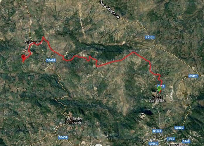 Questa è la strada percorsa da Nicola e Fela tra Rocca san Felice-Villamaina