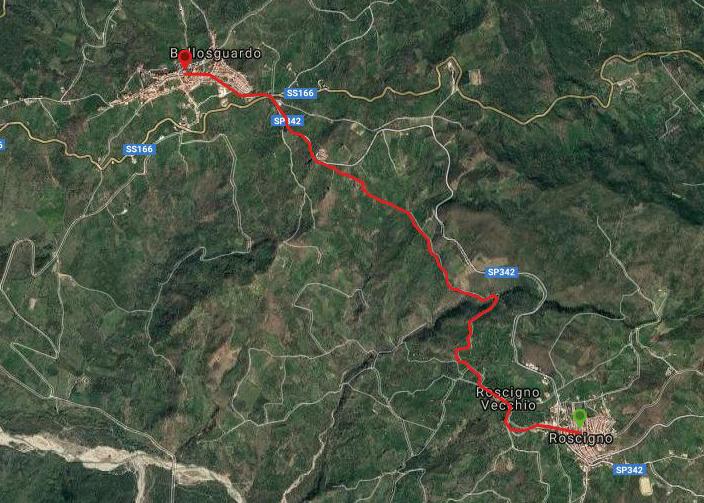 Questa è la strada percorsa da Nicola e Fela tra Roscigno-Bellosguardo