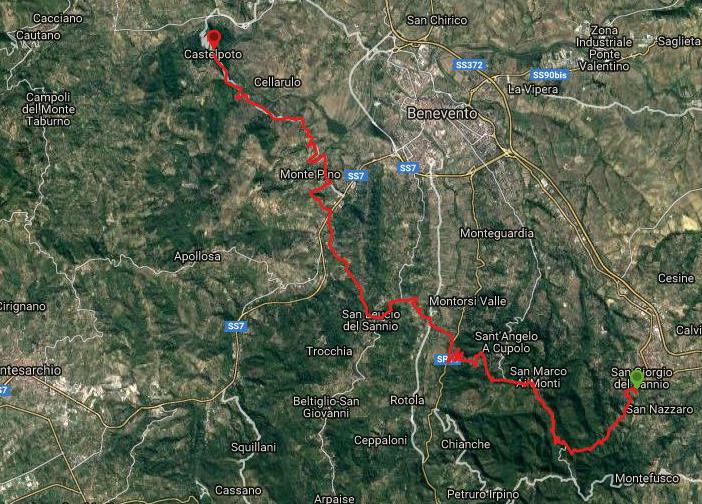 Questa è la strada percorsa da Nicola e Fela tra San Giorgio-San Leucio-Castelpoto