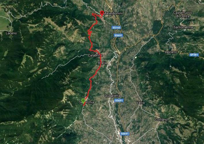 Questa è la strada percorsa da Nicola e Fela tra Senerchia-Caposele