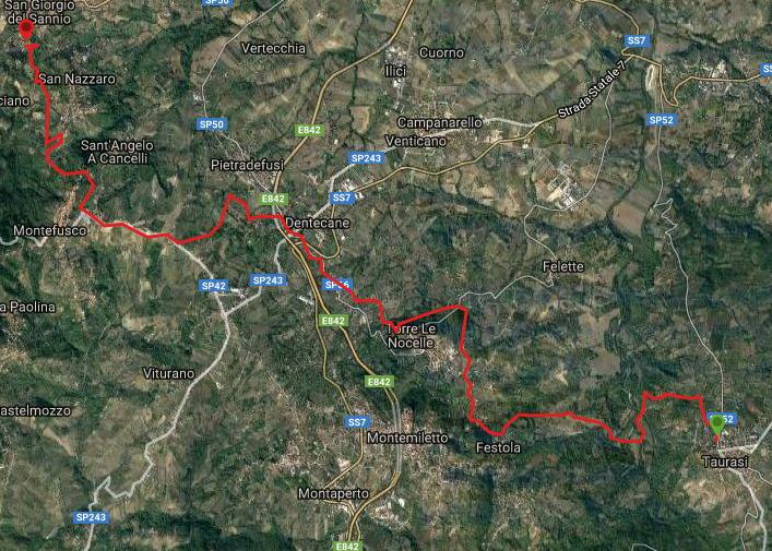 Questa è la strada percorsa da Nicola e Fela tra Taurasi-San Giorgio del Sannio