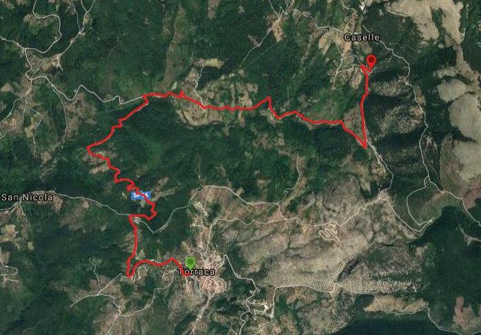 Questa è la strada percorsa da Nicola e Fela tra Torraca-Borgo le Caselle (Caselle di Tortorella)