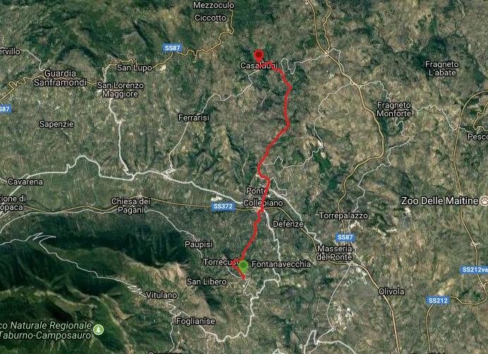 Questa è la strada percorsa da Nicola e Fela tra Torrecuso-Casalduni