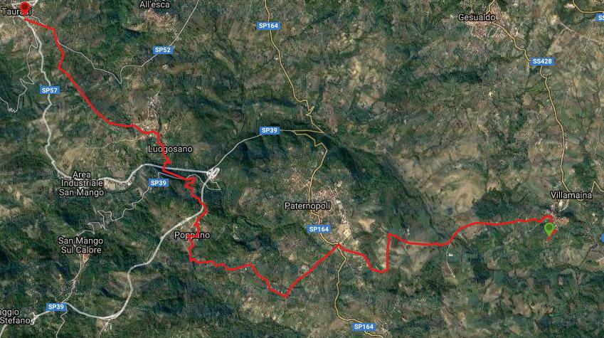 Questa è la strada percorsa da Nicola e Fela tra Villamaina-Taurasi