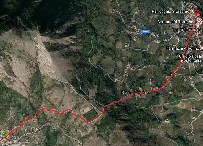 Questa è la strada percorsa da Nicola e Fela tra Vitulano-Torrecuso