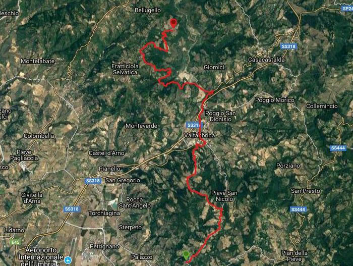 Questa è la strada percorsa da Nicola e Fela tra Assisi-Biscina
