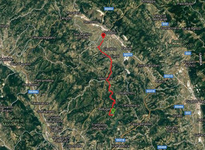 Questa è la strada percorsa da Nicola e Fela tra Biscina-Gubbio
