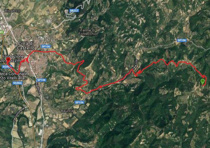Questa è la strada percorsa da Nicola e Fela tra Che Passo-Città di Castello