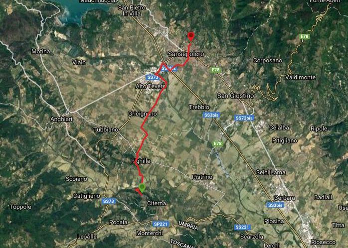 Questa è la strada percorsa da Nicola e Fela tra Citerna-Sansepolcro