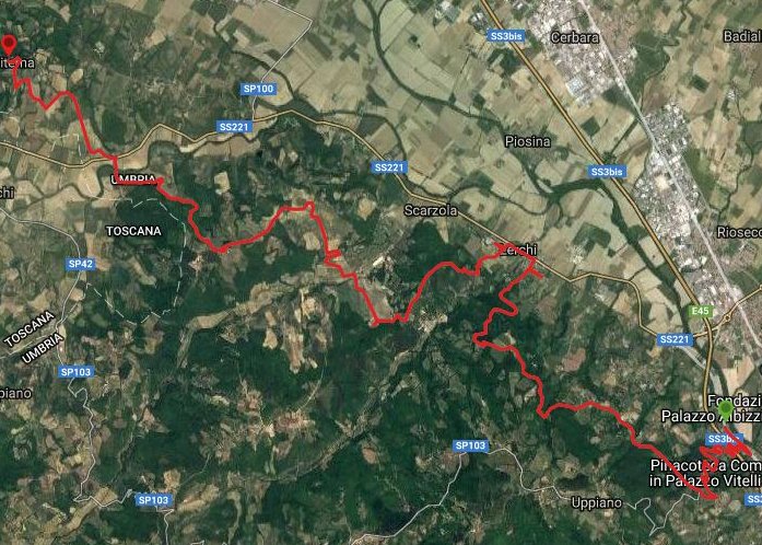 Questa è la strada percorsa da Nicola e Fela tra Città di Castello-Citerna
