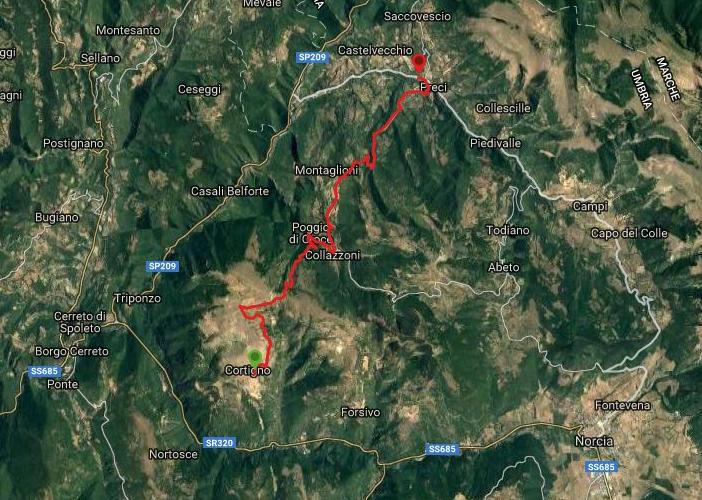 Questa è la strada percorsa da Nicola e Fela tra Cortigno-Preci