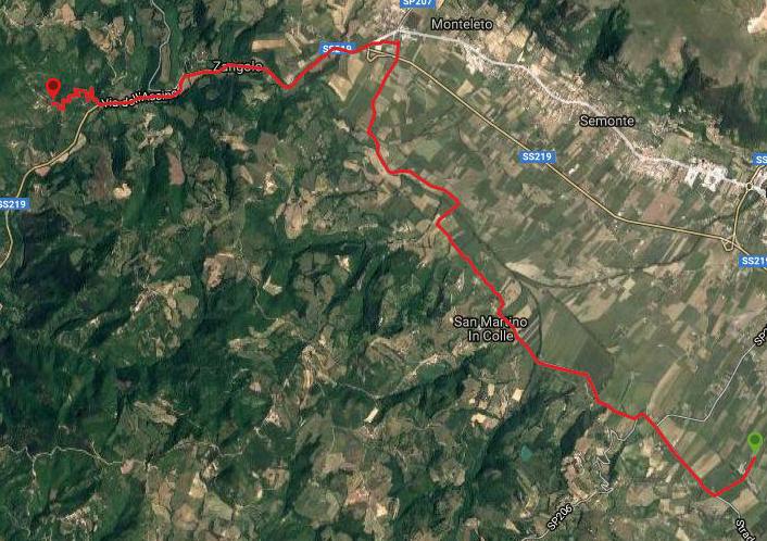 Questa è la strada percorsa da Nicola e Fela tra Gubbio-Zangolo