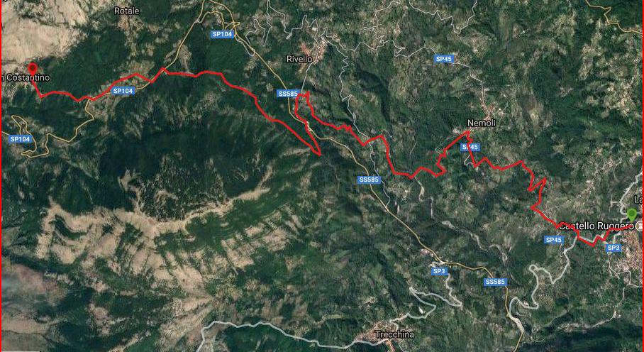 Questa è la strada percorsa da Nicola e Fela in due giorni di cammino tra i paesi di Lauria-Nemoli-Rivello-San Costantino
