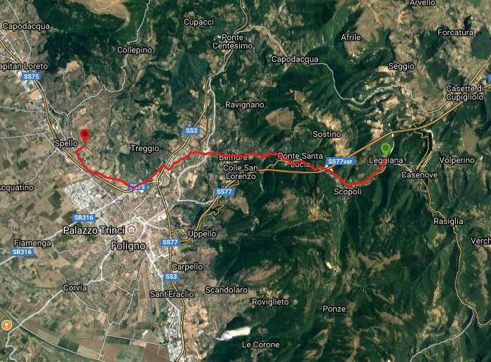 Questa è la strada percorsa da Nicola e Fela tra Leggiana-Spello