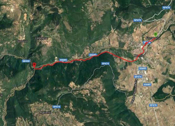 Questa è la strada percorsa da Nicola e Fela tra Norcia-Serravalle
