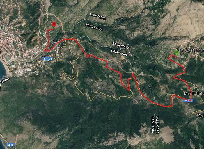 Questa è la strada percorsa da Nicola e Fela tra San Costantino-Sapri