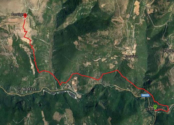 Questa è la strada percorsa da Nicola e Fela tra Serravalle-Cortigno