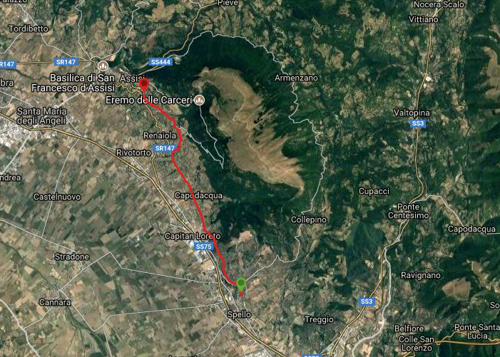 Questa è la strada percorsa da Nicola e Fela tra Spello-Assisi