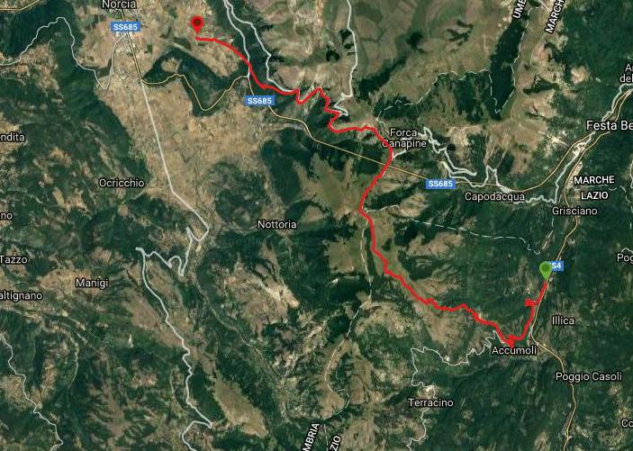 Questa è la strada percorsa da Nicola e Fela tra Accumoli-Norcia