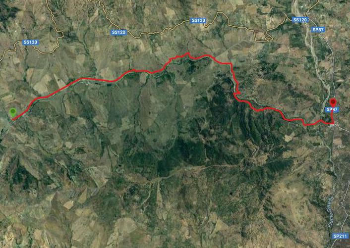 questa è la strada che Nicola e Piriddu hanno percorso da Bordo fiume-Bronte