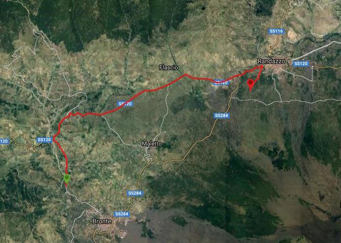 questa è la strada che Nicola e Piriddu hanno percorso da Bronte-Randazzo