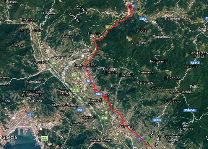 Questa è la strada percorsa da Nicola e Fela tra Caniparola-Aulla