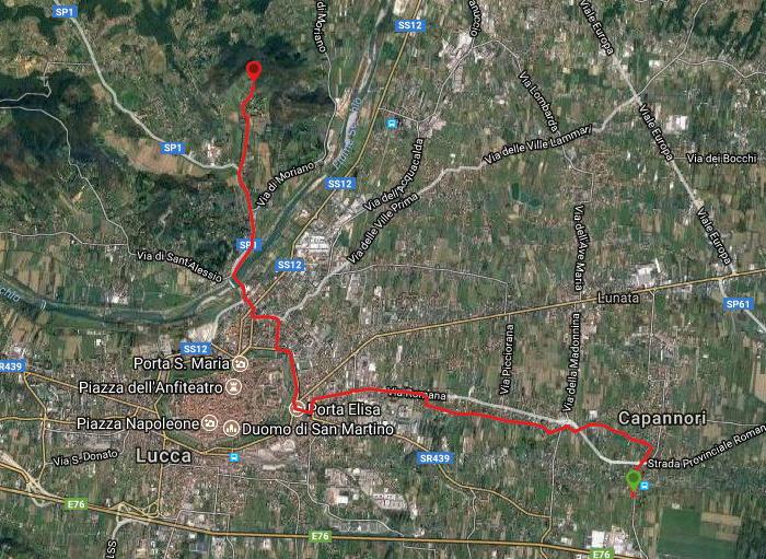 Questa è la strada percorsa da Nicola e Fela tra Capannori-Lucca