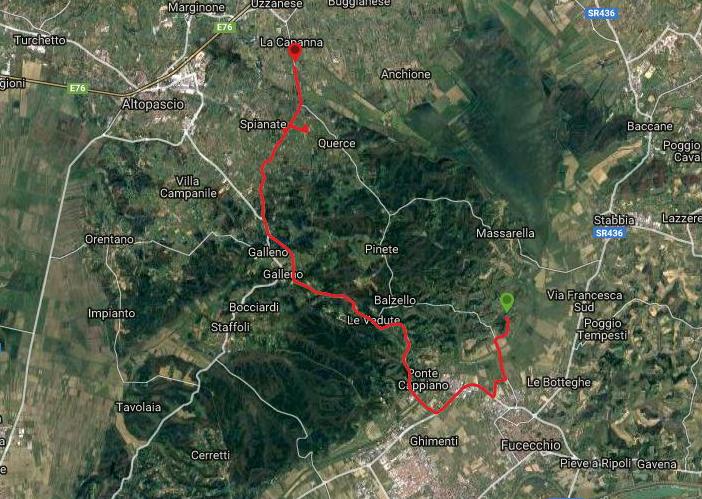 Questa è la strada percorsa da Nicola e Fela tra Fucecchio-Le Querce