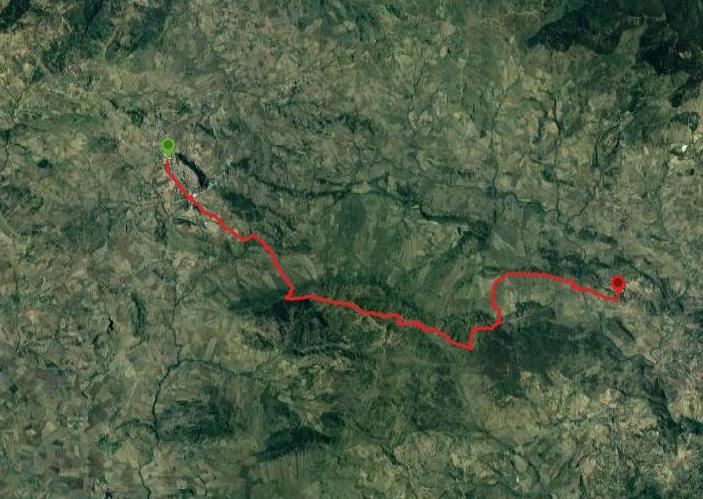 questa è la strada che Nicola e Piriddu hanno percorso da Gangi-Sperlinga