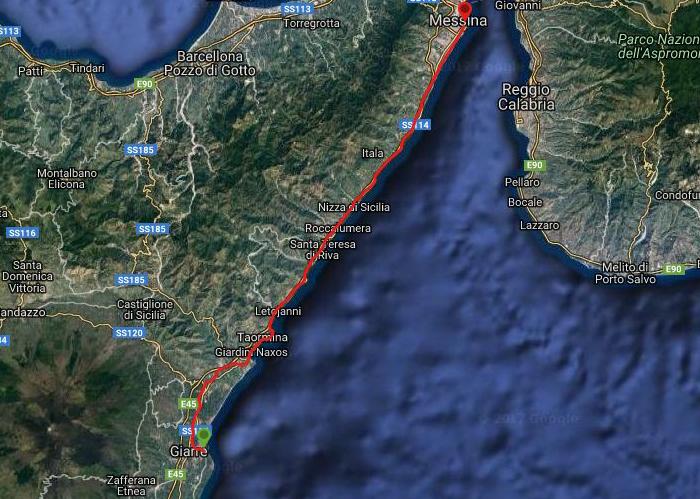 Questa è la strada che Nicola ha percorso in treno da Giarre-Messina