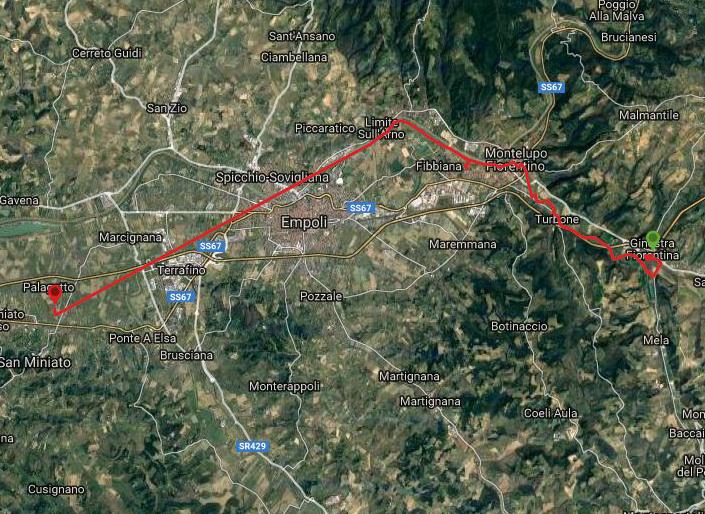 Questa è la strada percorsa da Nicola e Fela tra Ginestra Fiorentina-San Miniato