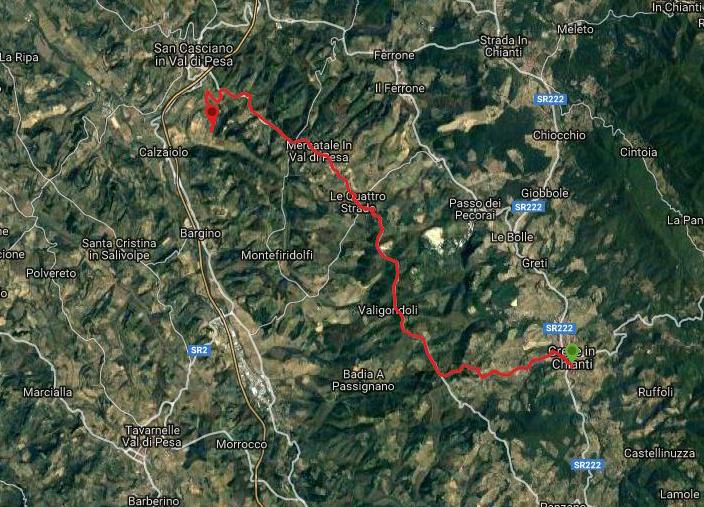 Questa è la strada percorsa da Nicola e Fela tra Greve in Chianti-San Casciano