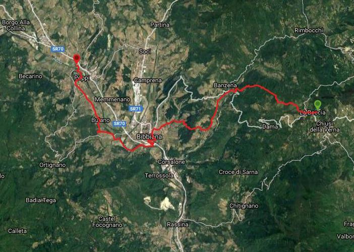 Questa è la strada percorsa da Nicola e Fela tra La Verna-Poppi