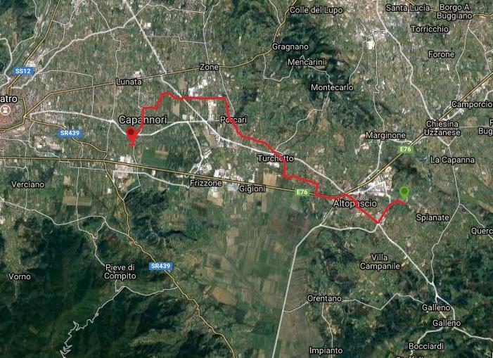 Questa è la strada percorsa da Nicola e Fela tra Le Querce-Capannori