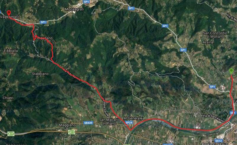 Questa è la strada percorsa da Nicola e Fela tra Lucca-Valpromaro