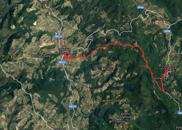 Questa è la strada percorsa da Nicola e Fela tra Lucolena-Greve in Chianti