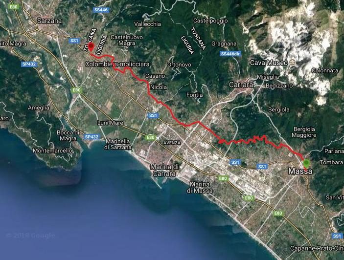 Questa è la strada percorsa da Nicola e Fela tra Massa-Caniparola