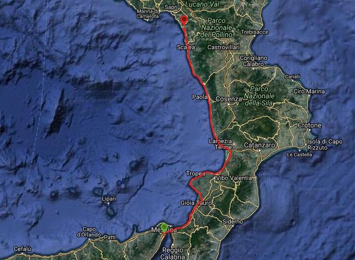 Questa è la strada che Nicola ha percorso in treno da Messina-Tortora