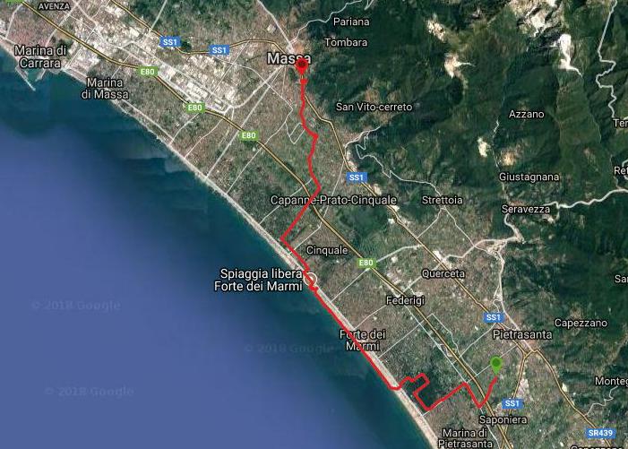 Questa è la strada percorsa da Nicola e Fela tra Pietrasanta-Massa