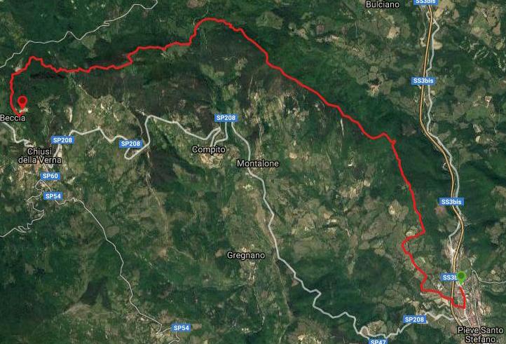 Questa è la strada percorsa da Nicola e Fela tra Pieve Santo Stefano-La Verna